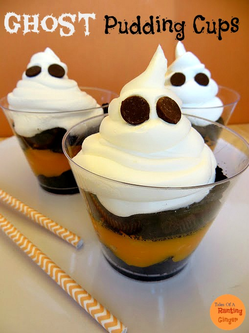 ghost pudding cups - Pudding Halloween Desserts