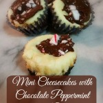 Mini Cheesecakes with Chocolate Peppermint Bark Garnish- Recipe