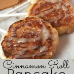 Cinnamon Roll Pancake Lollipops with Cream Cheese Glaze