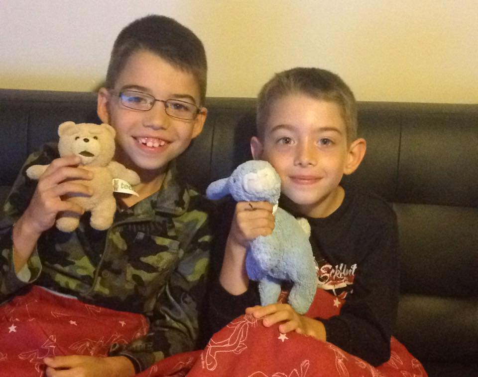 Sandy's Boys with Their Stuffies