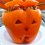 Stuffed Orange Pepper Jack-O'-Lanterns Recipe