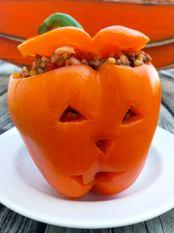 Stuffed Orange Pepper Jack O Lantern